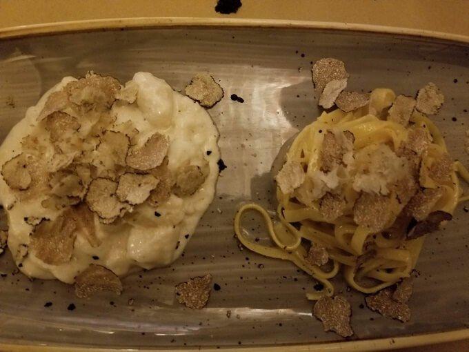 tagliolini with fresh truffle and ricotta gnocchi with fres truffle