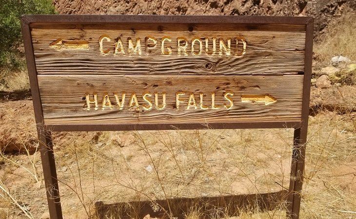 havasu falls campground sign