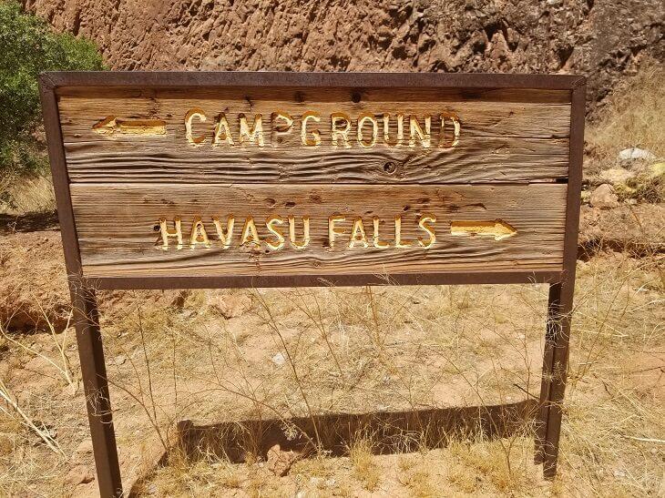 havasu falls campground sign