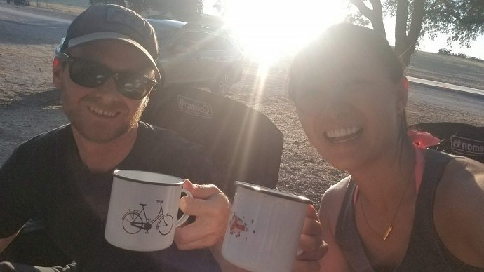cheers with camping mugs