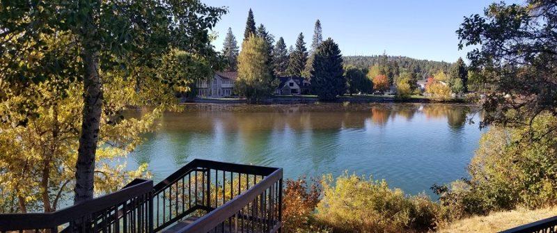 Bend in autumn river scene