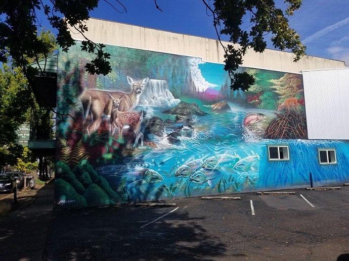 Corvallis mural deer river