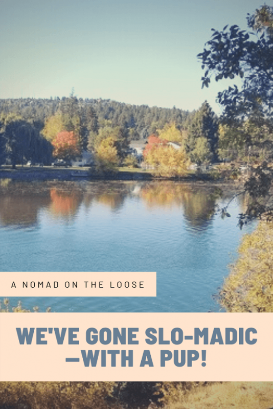 Pin image of autumn scene and slomadic travel