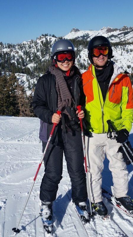 two people skiing in Tahoe